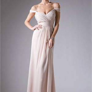 Champagne Sleeveless Bridesmaid Long Dres
